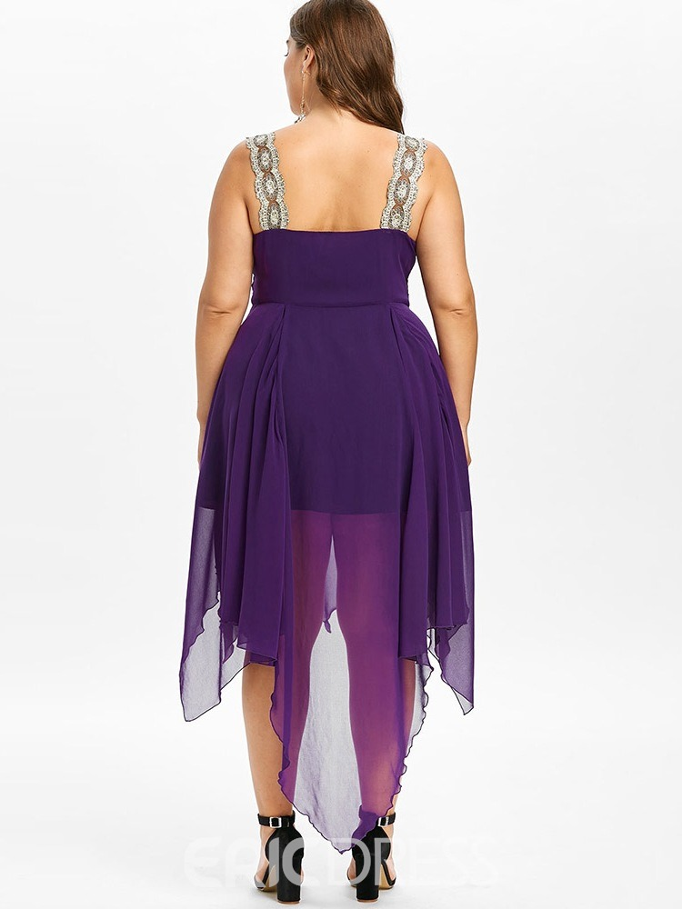 Ericdress Plus Size Hollow V-Neck Mid-Calf Cocktail Dress