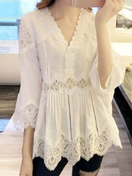 Ericdress Lace V-Neck Mid-Length Three-Quarter Sleeve Blouse фото