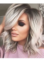 Ericdress Pretty Charming Short Length Natural Casual Wavy Remy Human Hair Lace Front Wigs 14 Inches фото