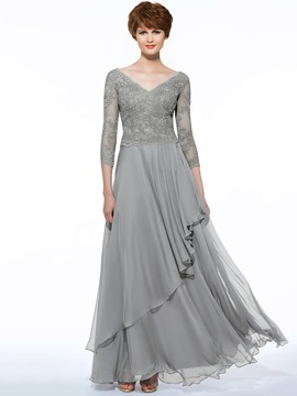 44460417a99 Ericdress Elegant V Neck 3 4 Length Sleeves Lace Long Mother Of The Bride  Dress