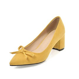 Ericdress Pointed Toe Bow Chunky Heel Women's Pumps