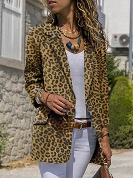 Ericdress Long Sleeve Notched Lapel Leopard Regular Mid-Length Casual Blazer