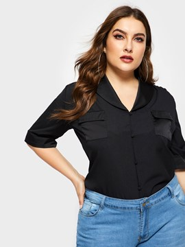 Ericdress Regular Lapel Plus Size Summer Blouse