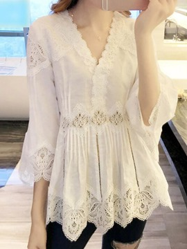 Ericdress Lace V-Neck Mid-Length Three-Quarter Sleeve Blouse