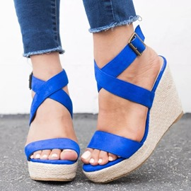 Ericdress Faux Suede Strappy Platform Wedge Heel Women's Sandals