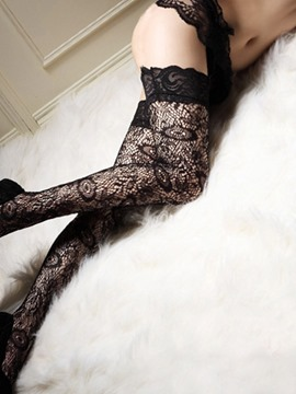 Ericdress Lace Plain Thigh-High Patchwork Stocking