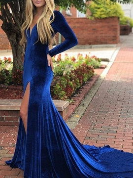 Ericdress V-Neck Long Sleeves Mermaid Evening Dress
