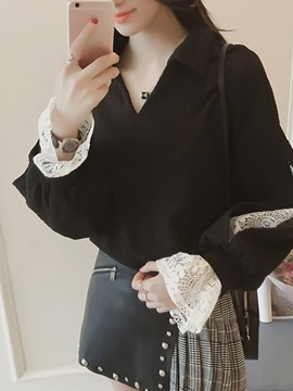 Ericdress V-Neck Flare Sleeve Lace Standard Long Sleeve Blouse