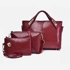 Ericdress Casual Plain PU Zipper Bag Set