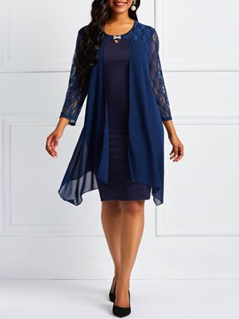 Ericdress Chiffon Lace Sleeve Round Neck Dress