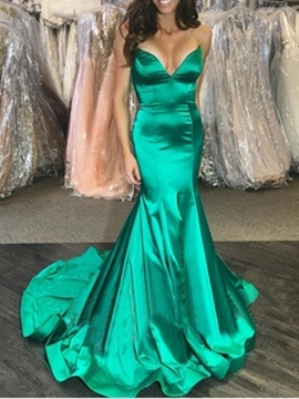 Ericdress Mermaid Sleeveless V-Neck Evening Dress