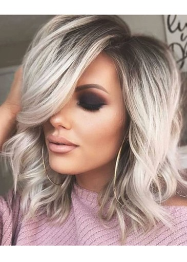 Ericdress Pretty Charming Short Length Natural Casual Wavy Remy Human Hair Lace Front Wigs 14 Inches