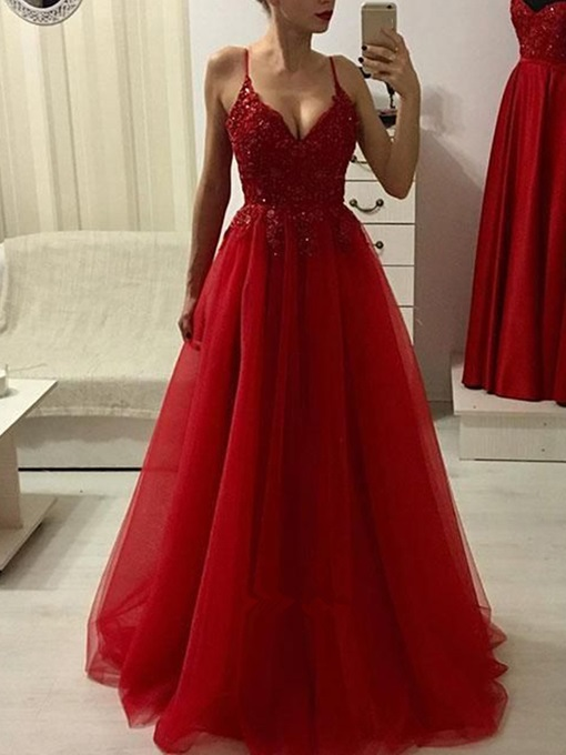 Ericdress Spaghetti Straps Beading A-Line Red Prom Dress