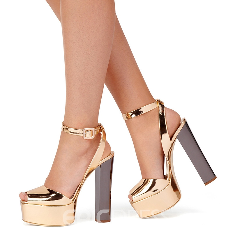 Ericdress Ankle Strap Chunky Heel Peep Toe Women's Sandals