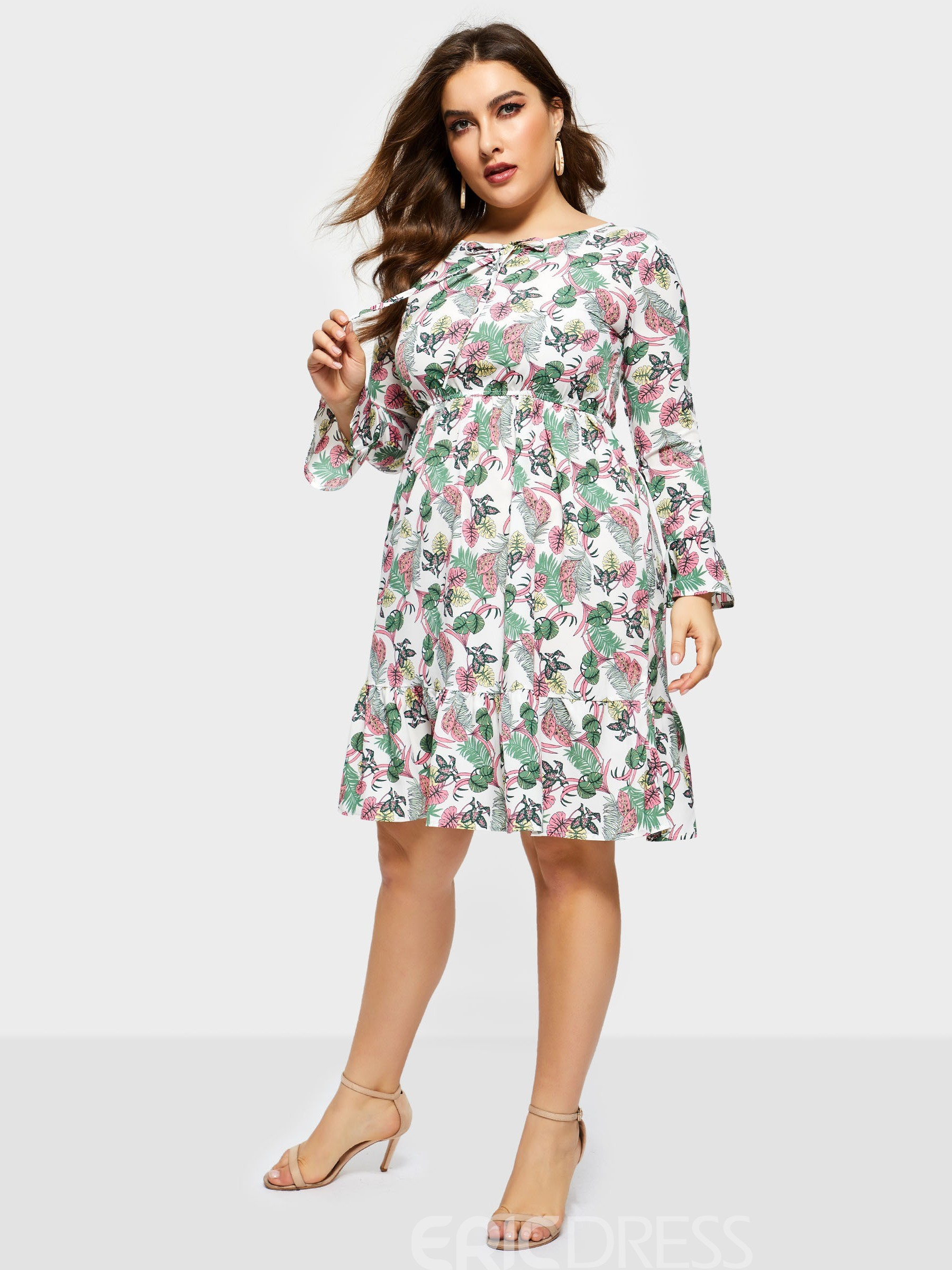 Ericdress Plus Size Knee-Length Print Long Sleeve Standard-Waist ...