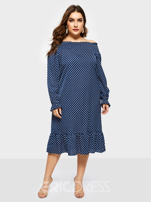 Ericdress Long Sleeve Mid-Calf Print Standard-Waist Plus Size Dress