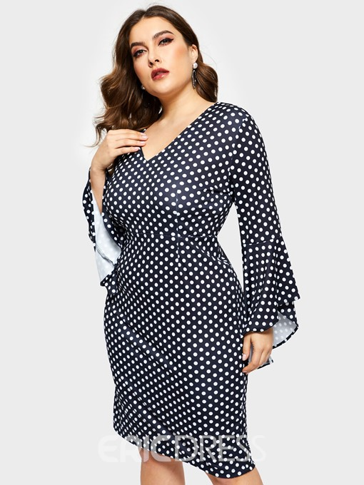 Ericdress Plus Size Knee-Length Print Flare Sleeve Pullover Dress