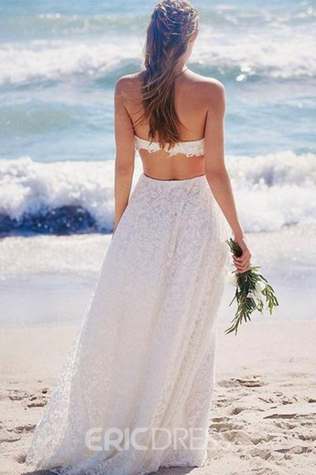 Floor-Length Strapless A-Line Beach Wedding Dress