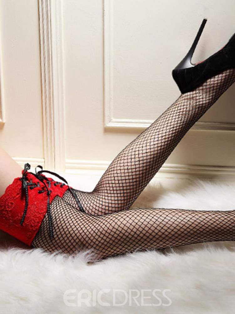 Ericdress Lace-Up Hollow Color Block Thigh-High Stocking