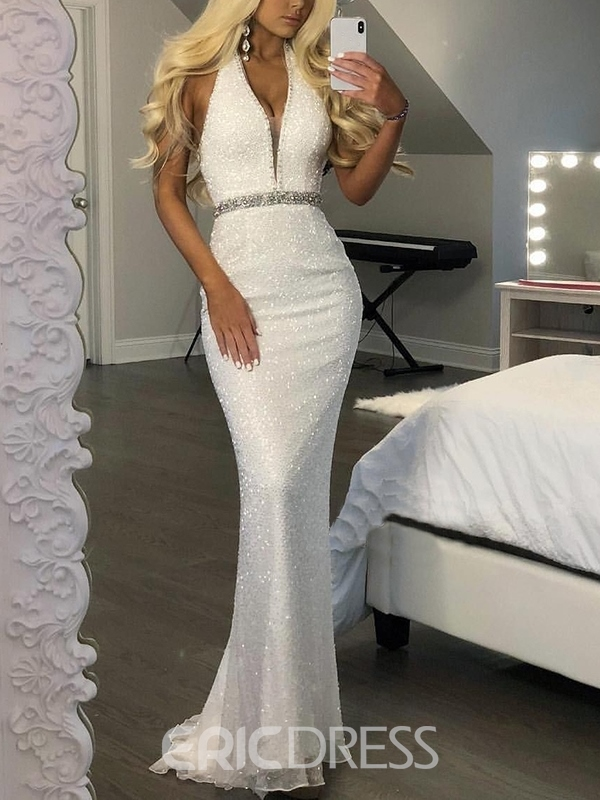 Ericdress Sequins Halter Mermaid Evening Dress