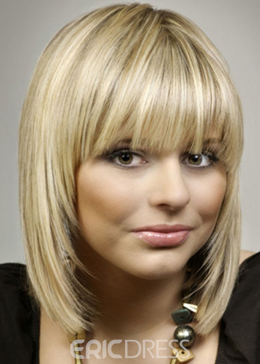 Ericdress Attractive Short Silky Straight 100% Human Hair Capless Wigs 16 Inches