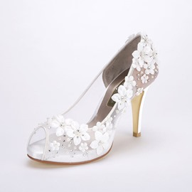 Ericdress Floral Stiletto Heel Slip-On Peep Toe Wedding Shoes