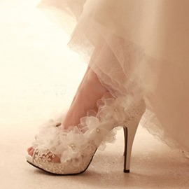 Ericdress Slip-On Lace Stiletto Heel Wedding Shoes
