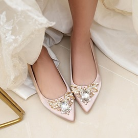 7778ac44f7e4e8 Ericdress Block Heel Rhinestone Pointed Toe Wedding Shoes
