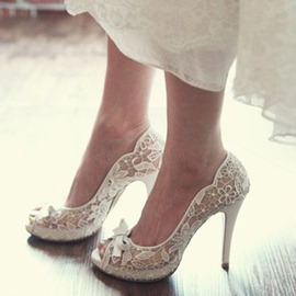 Ericdres Lace Peep Toe Platform Wedding Shoes