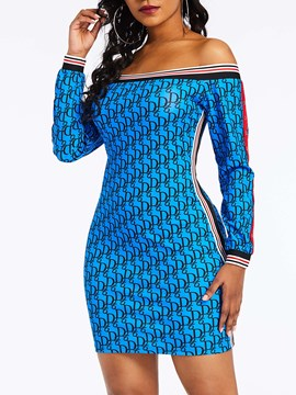 Ericdress Long Sleeve Above Knee Off Shouder Bodycon Dress