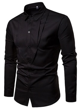 Ericdress Plain Pleated Mens Casual Dress Shirt