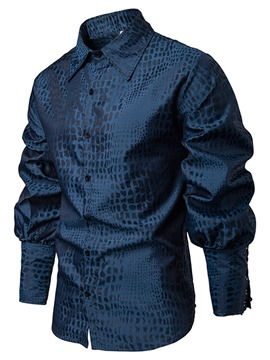 Ericdress Plain Printed Lace Up Lapel Mens Casual Spring Shirt