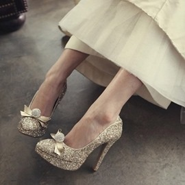 Ericdress Rhinestone Round Toe Stiletto Heel Wedding Shoes