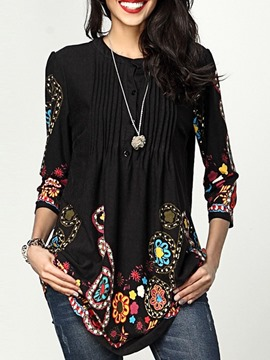 Ericdress Round Neck Floral Three-Quarter Sleeve Loose Casual T-Shirt