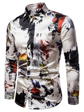 40c98e8186 Ericdress Print Colorful Button Up Single-Breasted Mens Casual Shirt.  .  White.
