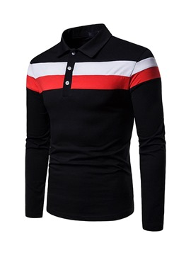 Ericdress Color Block gestreiftes Herren Freizeit Polo-Shirt