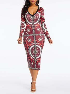 Ericdress Long Sleeve V Neck Print Bodycon Dress