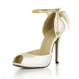 Ericdress Bow Peep Toe Line-Style Buckle Wedding Shoes