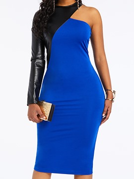 Ericdress Long Sleeve PU Patchwork Mid-Calf Bodycon Dress