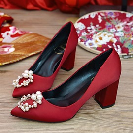 Ericdress Rhinestone Pointed Toe Chunky Heel Wedding Shoes