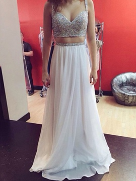 Sleeveless Beading Straps A-Line Prom Dress