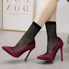 Ericdress Patchwork Pointed Toe Hollow Women's Boots