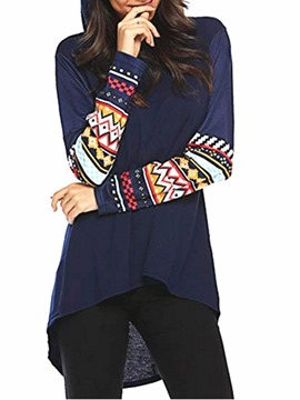 Ericdress Regular Geometric Print Mid-Length Winter Hoodie