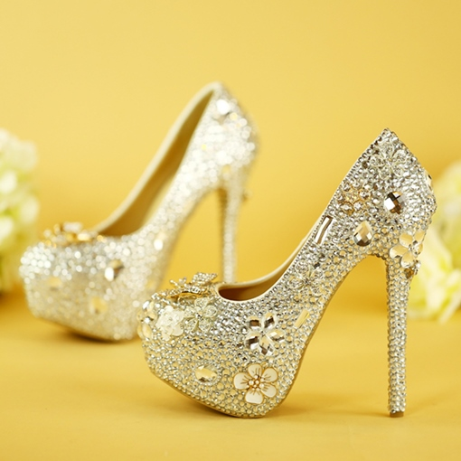 Ericdress Rhinestone Stiletto Heel Slip-On Platform Wedding Shoes