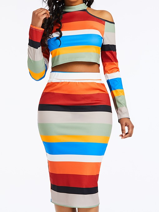 Ericdress Color Block Striped Cold Shoulder T-Shirt and Bodycon Skirt Two Piece Set