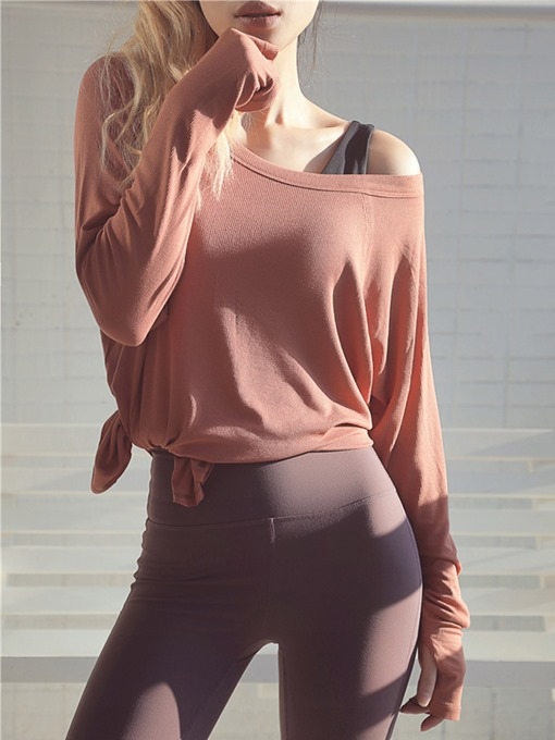 Ericdress Solid Thumbholes Breathable Long Sleeve Pullover Sport Tops