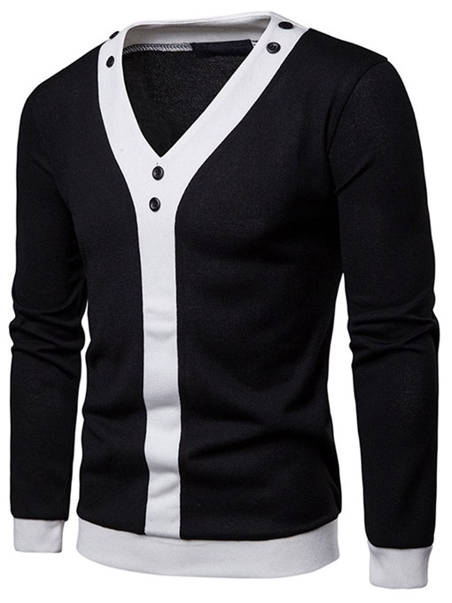 Ericdress Color Block V-Neck Mens Casual Pullover Sweater