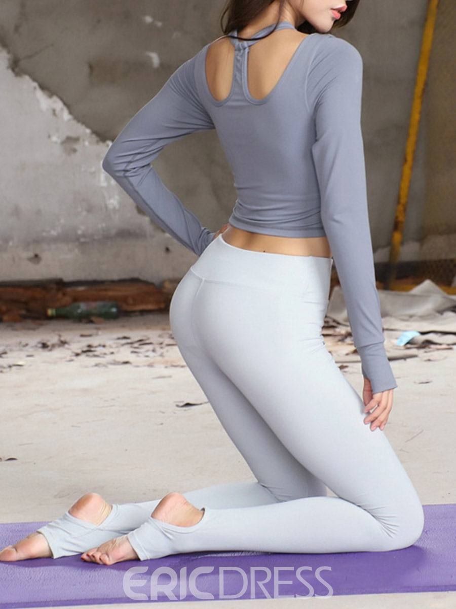 Ericdress Thumbholes Breathable Solid Full Length Pullover Sport Sets