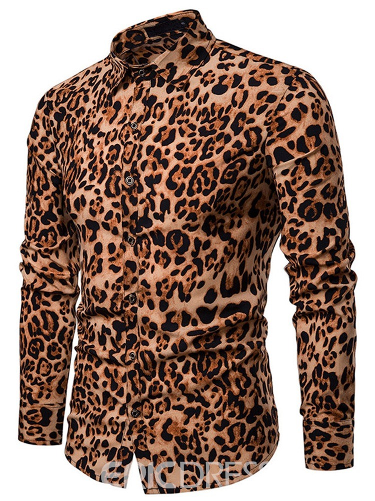 Ericdress Leopard Printed Single-Breasted Mens Casual Shirt