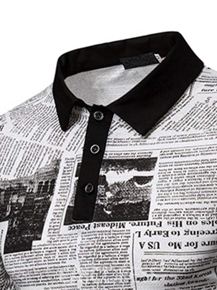 Ericdress Letter Printed Color Block Mens Polo Shirt